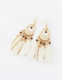 Fashion Beige Feather Decorated Tassel Pure Color Earrings
