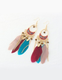 Fashion Multi-color Feather Decorated Tassel Pure Color Earrings