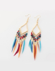 Fashion Multi-color Tassel Decorated Rhombus Shape Pure Color Earrings