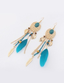 Fashion Blue Feather&leaf Decorated Pure Color Earrings