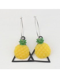 Fashion Yellow+black Pineapple Shape Decorated Simple Earrings