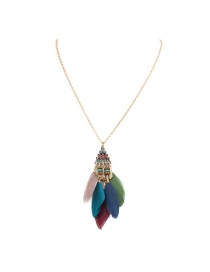 Fashion Multi-color Feather Decorated Simple Necklace