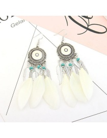 Vintage Light Yellow Feather&beads Decorated Pure Color Earrings