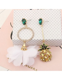 Fashion White+green Flower&banana Pendant Decorated Earrings