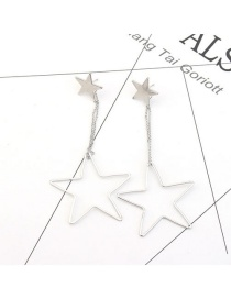 Elegant Silver Color Stars Pendant Decorated Pure Color Earrings