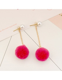 Sweet Plum Red Fuzzy Ball&pearls Decorated Pom Earrings