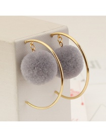 Personalized Gray Circular Ring&fuzzy Ball Decorated Pom Earrings