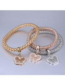 Fashion Gold Color+silver Color+rose Gold Butterfly Shapre Decorated Bracelet (3 Pcs)