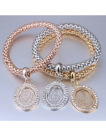 Fashion Gold Color+silver Color+rose Gold Diamond Decorated Bracelet (3 Pcs)