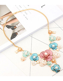 Fashion Multi-color Flower&pearls Decorated Necklace