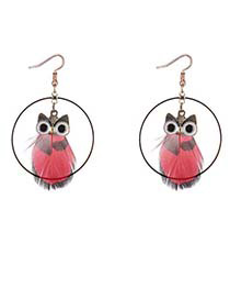 Lovely Red Owl Shape Decorated Round Earrings