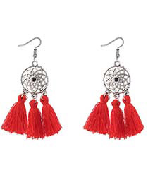 Bohemia Pink Hollow Out Decorated Tassel Earrings