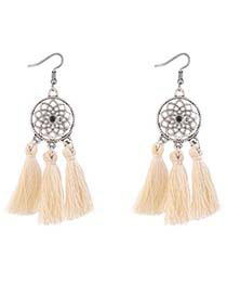 Bohemia Beige Hollow Out Decorated Tassel Earrings
