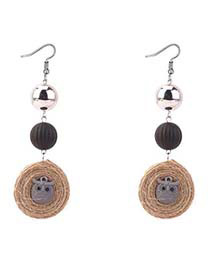 Bohemia Gray Owl Shape Decorated Round Long Earrings