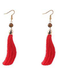 Bohemia Red Long Tassel Decorated Earrings