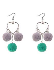 Lovely Gray Heart Shape Decorated Pom Earrings
