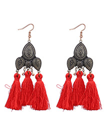 Vintage Red Tassel Decorated Earrings