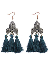 Vintage Navy Tassel Decorated Earrings