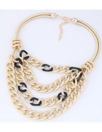 Fashion Black Chains Decorated Multi-layer Necklace