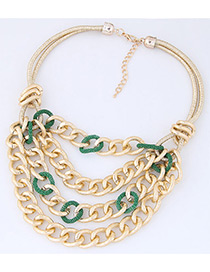 Fashion Green Chains Decorated Multi-layer Necklace