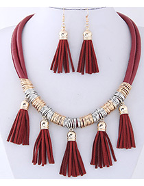 Fashion Red Tassel Decorated Pure Color Jewelry Sets
