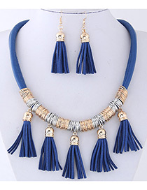 Fashion Dark Blue Tassel Decorated Pure Color Jewelry Sets