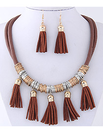 Fashion Coffee Tassel Decorated Pure Color Jewelry Sets