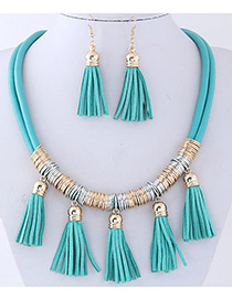 Fashion Light Blue Tassel Decorated Pure Color Jewelry Sets