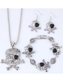 Trendy Black Skeleton Shape Decorated Jewelry Sets