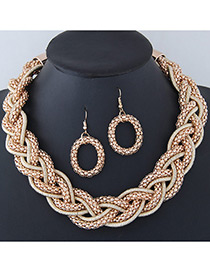 Trendy Gold Color Pure Color Decorated Jewelry Sets
