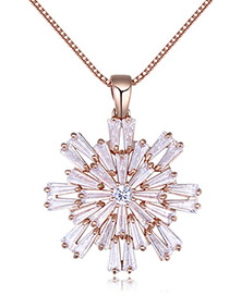Elegant Rose Gold Color Snow Shape Decorated Necklace