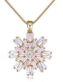 Elegant Gold Color Snow Shape Decorated Necklace