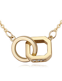 Fashion Gold Color Cross Design Decorated Necklace
