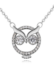 Lovely Silver Color Owl Shape Decorated Necklace