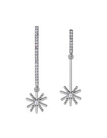 Elegant Silver Color Star Shape Decorated Earrings