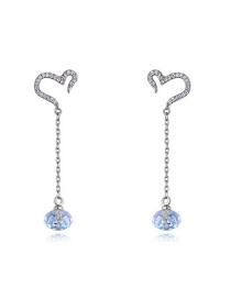 Elegant Silver Color Heart Shape Decorated Earrings