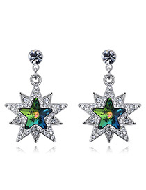 Fashion Green Star Shape Decorated Earrings