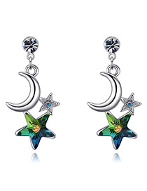 Fashion Green Moon&star Shape Decorated Earings