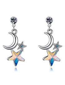 Fashion Multi-color Moon&star Shape Decorated Earings