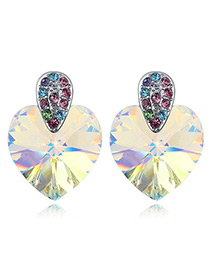 Fashion Light Yellow Heart Shape Decorated Earrings