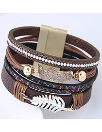 Personality Coffee Metal Leaf Shape Decorated Multilayer Bracelet