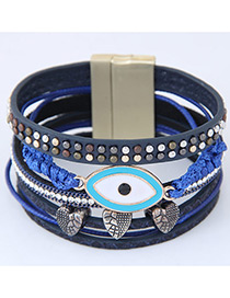 Personality Sapphire Blue Eye Shape Decorated Multilayer Bracelet
