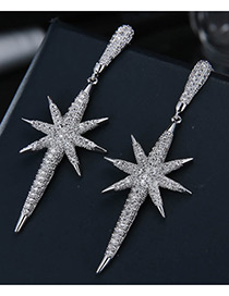Elegant Silver Color Pure Color Decorated Earrings