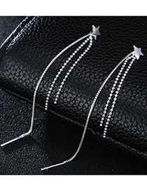 Elegant Silver Color Star Shape Decorated Tassel Earrings