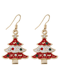 Fashion Red Christmas Tree Shape Decorated Earrings