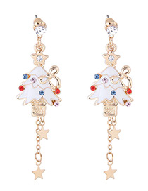 Fashion Multi-color Christmas Tree Shape Decorated Earrings