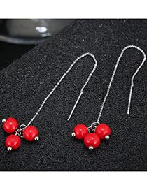 Fashion Red Beads Decorated Long Tassel Earrings