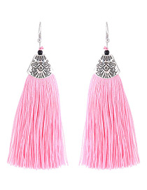Fashion Pink Long Tassel Decorated Simple Earrings