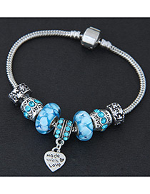Elegant Blue Heart Shape Decorated Simple Bracelet