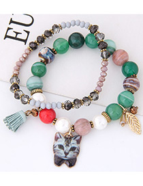 Elegant Green Cat&leaf Decorated Double Layer Bracelet